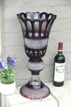 XXL Amethyst purple Bohamia 2 parts crystal glass cut vase centerpiece 1960